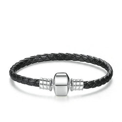 Black Leather Charm Bracelet - CHARMANIC
