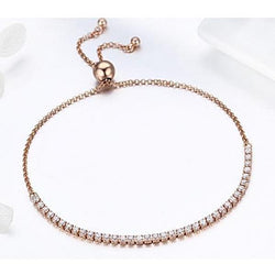 Adjustable Strand Tennis Bracelet In Rose Gold - CHARMANIC