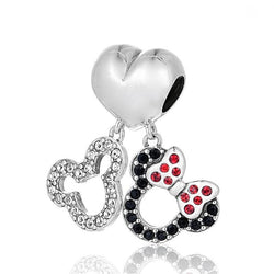 Disney Charms Mickey and Minnie Silver Charm - CHARMANIC