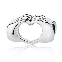 Heart in Hands Silver Charm - CHARMANIC