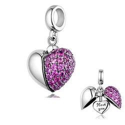 CHARMANIC Charms & Beads 'I Love You' Purple Heart Charm
