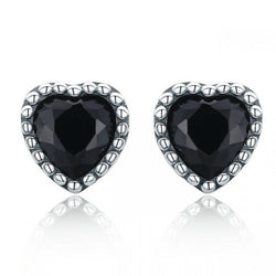 CHARMANIC earrings Black Hearts Silver Stud Earrings