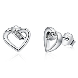 Love Hearts Silver Stud Earrings - CHARMANIC