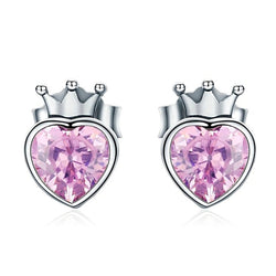Pink Crown Stud Earrings - CHARMANIC
