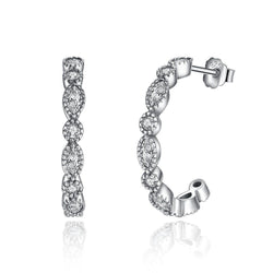 Silver Hoop Earrings CZ - CHARMANIC
