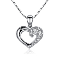 Silver Cubic Zirconia Heart Necklace - CHARMANIC