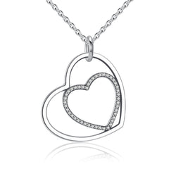 Charmanic Necklaces Silver Heart In Heart Pendant Necklace