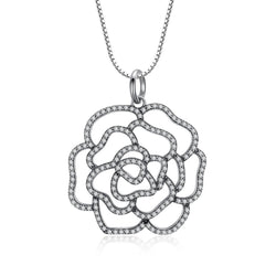 Silver Shimmering Rose Pendant Necklace - CHARMANIC