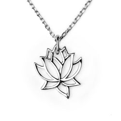 CHARMANIC pendants Lotus Flower Necklace in Silver