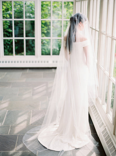 ADDISON | Sheer Wedding Veil with Long Blusher | Noon on the Moon