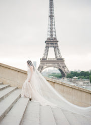 ADDISON | Sheer Wedding Veil with Long Blusher - Noon on the Moon