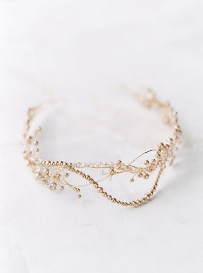 AMIRA | Crystal and Gold Pearl Wedding Crown | Noon on the Moon