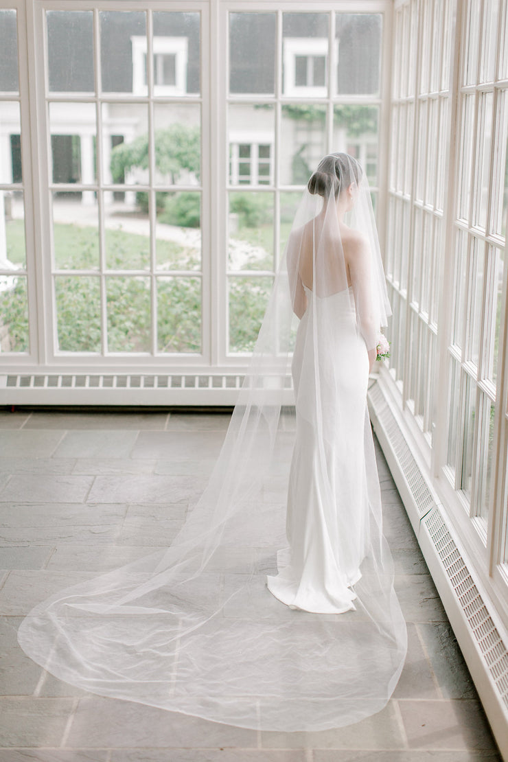 ARIA | Sheer Wedding Veil with Blusher | Noon on the Moon