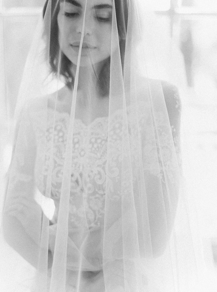 CASSANDA | Wedding Veil with Long Blusher | Noon on the Moon