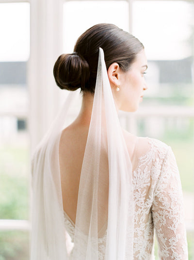 CHLOE | French Silk Tulle Draped Veil | Noon on the Moon