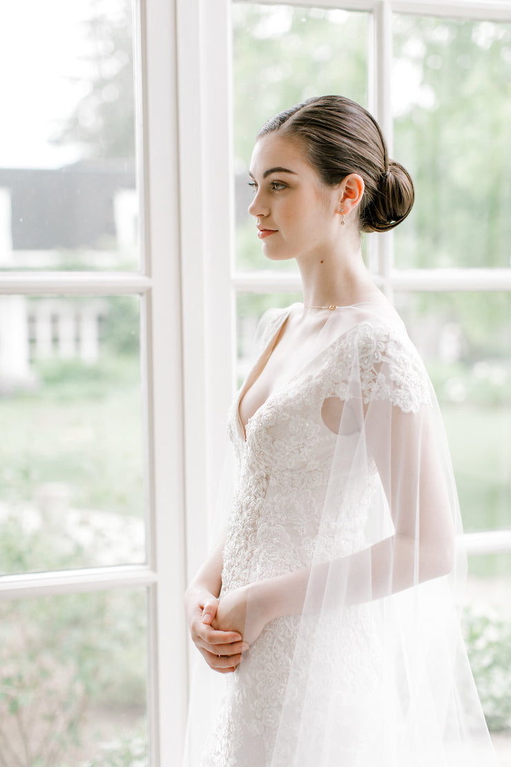 DEVON | Sheer Bridal Cape - Noon on the Moon