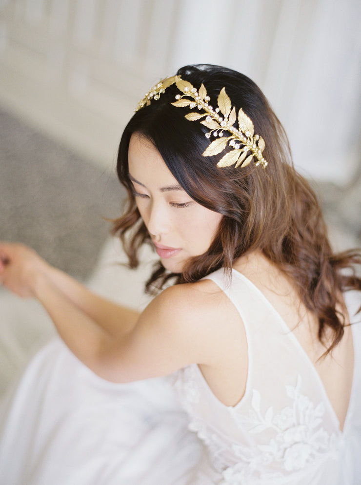 DIANA | Gold Wedding Headpiece with Crystals | Noon on the Moon