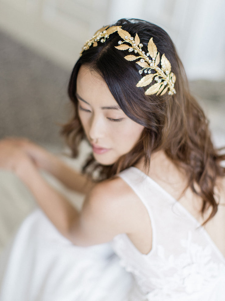 DIANA | Gold Wedding Headpiece with Crystals - Noon on the Moon