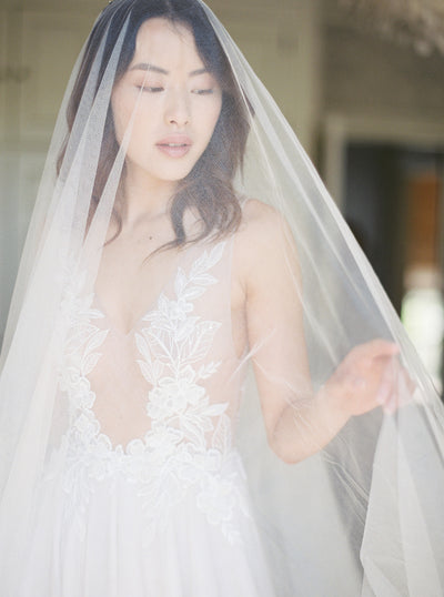 ELIZABETH | English Silk Tulle Wedding Veil | Noon on the Moon