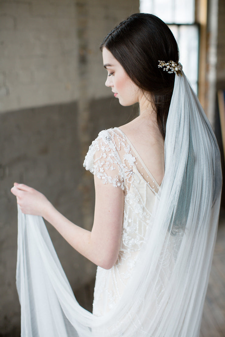 GENEVE | French Silk Wedding Veil - Noon on the Moon