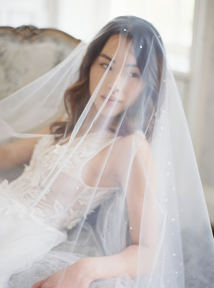 GLAMOUR | Cathedral Wedding Veil with Crystals - Noon on the Moon