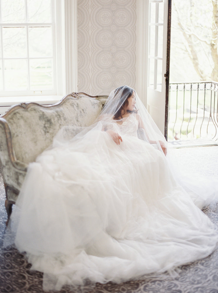 GLAMOUR | Cathedral Wedding Veil with Crystals | Noon on the Moon