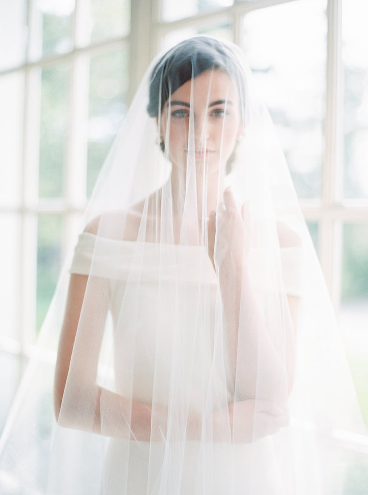 JENNY | Sheer Wedding Veil with Blusher - Noon on the Moon
