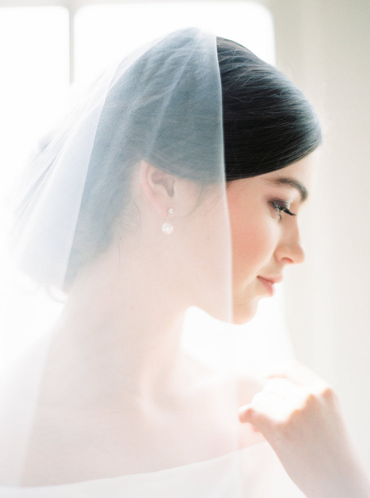 JENNY | Sheer Wedding Veil with Blusher | Noon on the Moon