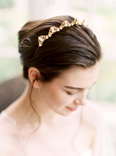 KANA | Gold Crystal Bridal Tiara | Noon on the Moon