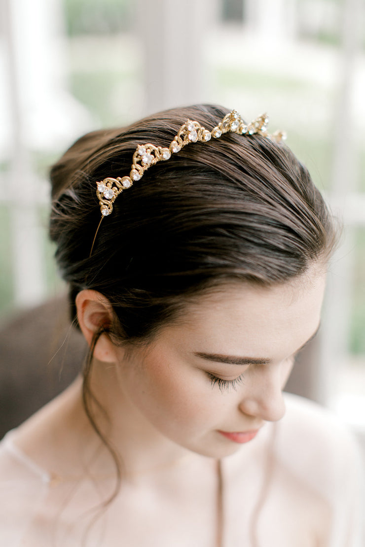 KANA | Gold Crystal Bridal Tiara - Noon on the Moon