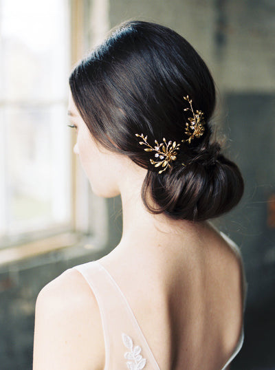 LAURA | Gold Wedding Hair Pins | Noon on the Moon