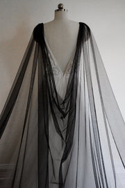 MIDNIGHT | Sparkling Black Wedding Cape - Noon on the Moon