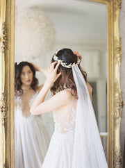 NATHALIE | French Silk Wedding Veil - Noon on the Moon