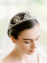 NIA | Silver Crystal Wedding Crown | Noon on the Moon