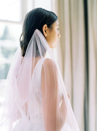 ROSA | Draped Pink Wedding Veil | Noon on the Moon