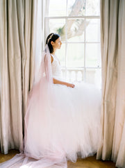 ROSA | Draped Pink Wedding Veil - Noon on the Moon