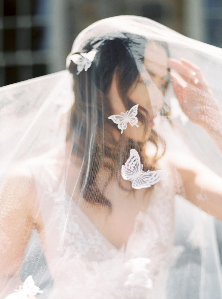 REVERIE | Embellished Wedding Veil with Butterflies - Noon on the Moon