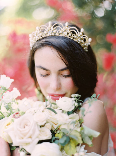 SOFIA | Pearl and Crystal Wedding Crown - Noon on the Moon