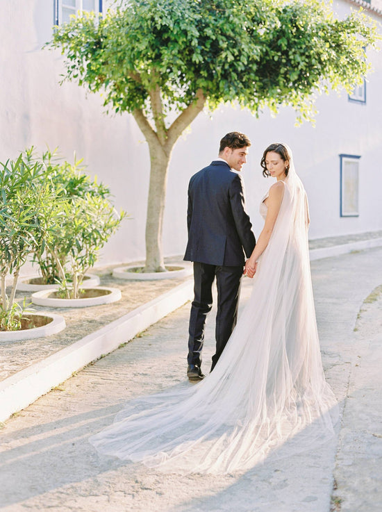 TALITHA | Modern Long Wedding Veil - Noon on the Moon