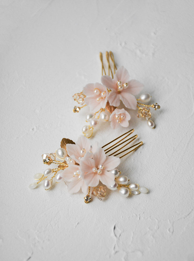PETAL | Blush Bridal Hair Combs - Noon on the Moon