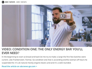Condition One Nutrition Bar and CEO