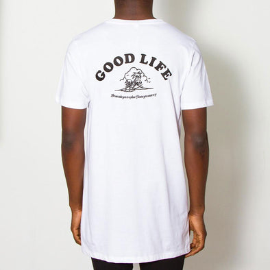 Good Life Black Print - Longline - White - Wasted Heroes