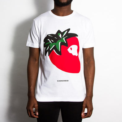 Strawberry Front Print - Tshirt - White - Wasted Heroes