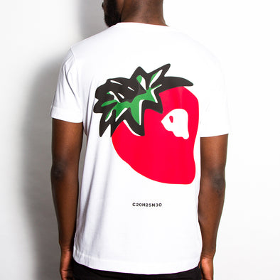 Strawberry Back Print - Tshirt - White