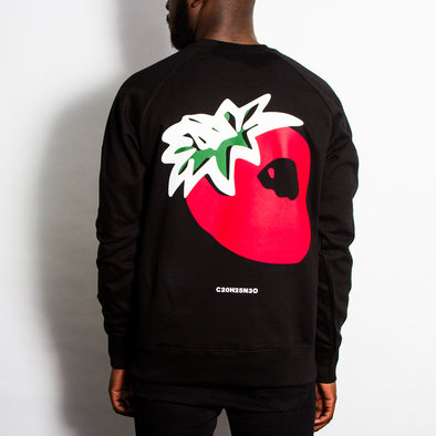 Strawberry Back Print - Sweatshirt - Black - Wasted Heroes