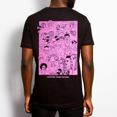 Disco Fest Artists Back Print - Tshirt - Black - Wasted Heroes