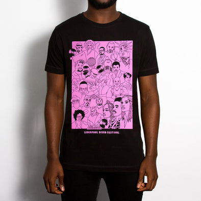 Disco Fest Artists Front Print - Tshirt - Black - Wasted Heroes