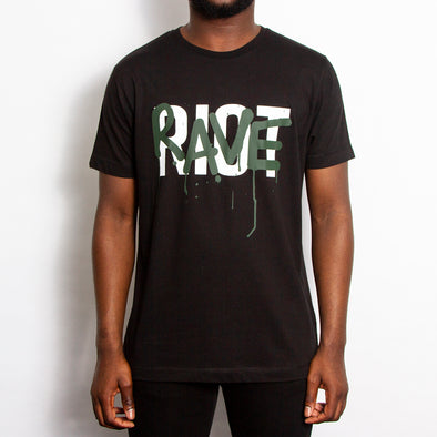 Rave Riot Green Print T-shirt - Black - Wasted Heroes
