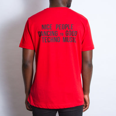 Peoples Techno Back Print - Tshirt - Red - Wasted Heroes