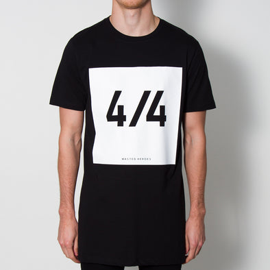 4/4 Front Print - Longline - Black - Wasted Heroes